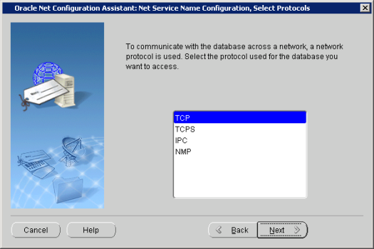 Oracle Net Configuration Assistant_ Net Service Name Configuration, Select Proto