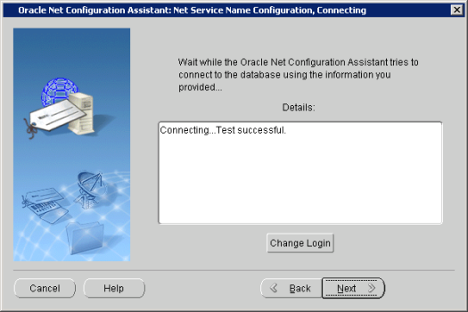Oracle Net Configuration Assistant_ Net Service Name Configuration, Connecting